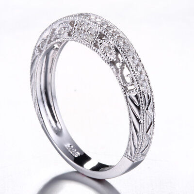 Sterling Silver 925 Diamond Vintage Fillagree Ring Anniversary Band Pave Setting