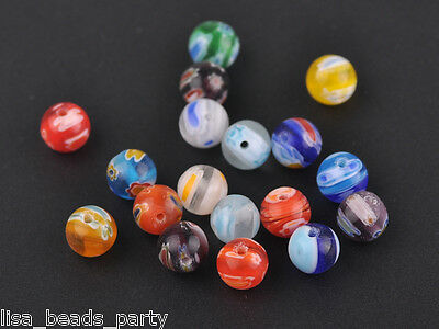 50pcs 8mm Round Lampwork Millefiori Glass Charms Loose Spacer Beads Mixed Colors