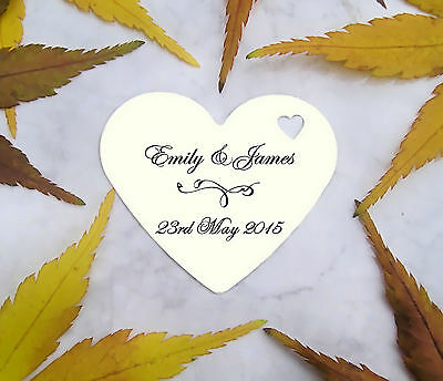 100 Personalised Printed Love Heart Wedding Favour Tags Labels Tree Christening