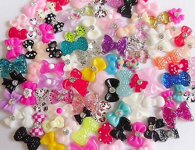 "50 pc x 3D Nail Art ""Bows"" Rhinestone Accessories Mix Decoration Craft Cabochon"