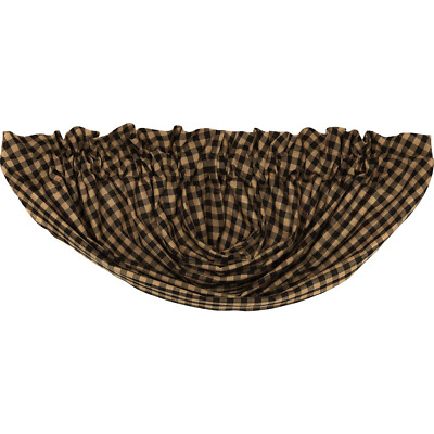 Black Check Balloon Valance Window Lined Country Black/Tan Plaid Rustic Cotton