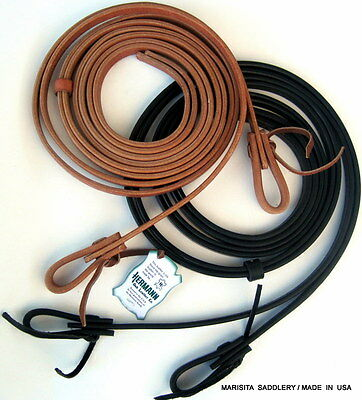 "4HERMANN OAK HARNESS LEATHER REINS-BLACK OR RUSSETT-7'x5/8""-USA MADE-FREE SHIP"