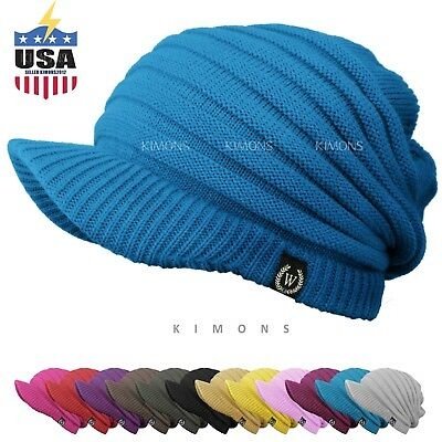 761a2b5e7 S- VISOR BEANIE Cable Knit Slouchy Baggy Crochet Ski Winter Hat Cap Man  Women
