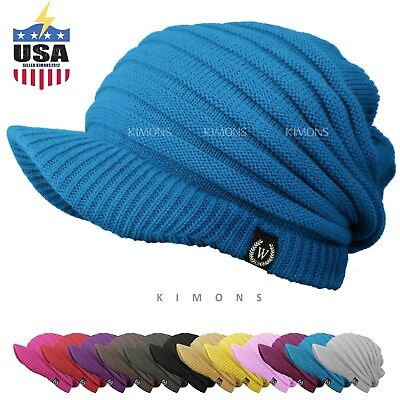 S- Visor Cable Knit Slouchy Baggy Beanie Oversize Winter Hat Cap Skull Ski Women