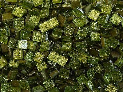 50g Lime Glitter Glass Mosaic Tile 10mm x 10mm x 4mm. Indoor use, Supplied loose