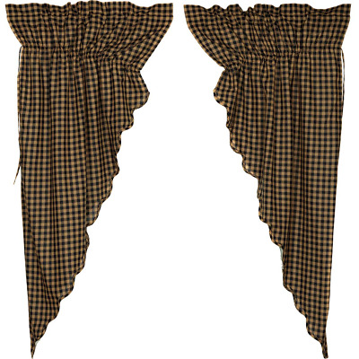 BLACK CHECK Scalloped Prairie Curtain Set Rustic Primitive Khaki Country Lined
