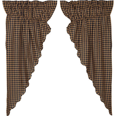 NAVY CHECK Scalloped Prairie Curtain Set Rustic Primitive Khaki Farmhouse Lined