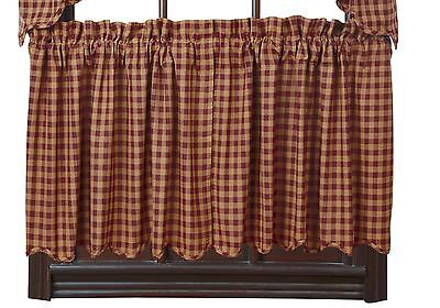 BURGUNDY CHECK Scalloped Tier Set Rustic Khaki Plaid Primitive Cafe Curtains 24""