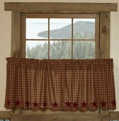 BURGUNDY STAR Scalloped Tier Set Rustic Plaid Khaki Applique Cafe Curtains 24""