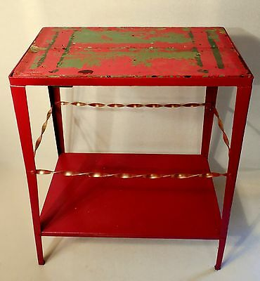 Primitive Rustic Table Stand Shabby Chic Antique Patio Cottage Vintage Red Green