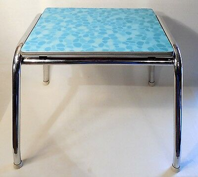 Mid Century Modern Formica Aqua Table Kids Chrome Kitchen End Stand Vintage