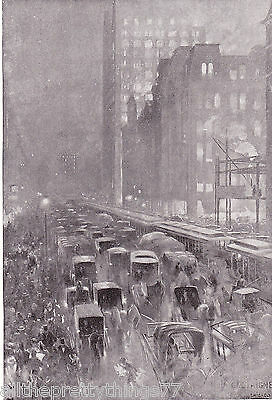 CHICAGO STREET Scene Horse & Carriage ILLINOIS City Vintage 1919  MATTED Picture