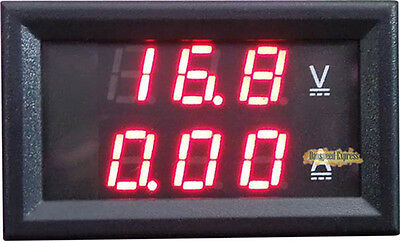 New DC 4.5-30V 50A Dual Digital Voltmeter Ammeter LED Panel Amp Volt Gauge Meter