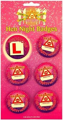 Hen Party | Girls Night Out Badges | Add Names | Bride to Be | Hen Member 1-6pk
