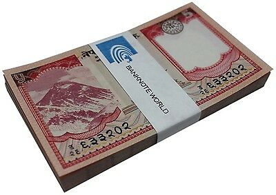 Nepal 5 Rupees X 50 Pieces (PCS), 2012, P-69, UNC, Half Bundle, Pack, Yak