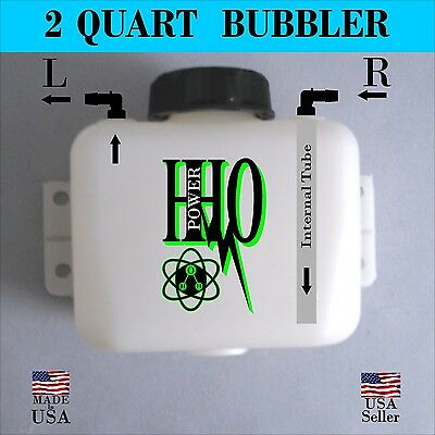 2 Quart Bubbler/ Scrubber/ Reservoir: Left or Right Output, HHO, Dry Cell