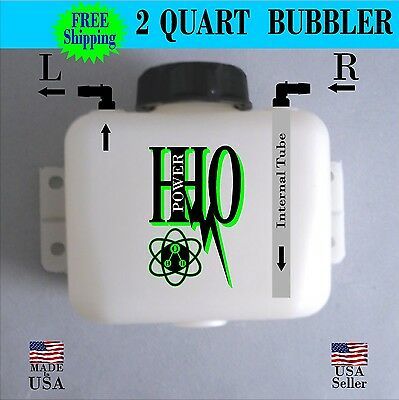 2 Quart Bubbler/ Scrubber/ Reservoir: Left or Right Output, HHO, Dry Cell FS