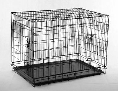 "Black 30"" 2 Doors Pet Folding Suitcase Dog Cat Crate Cage Kennel Pen w/ABS #11"