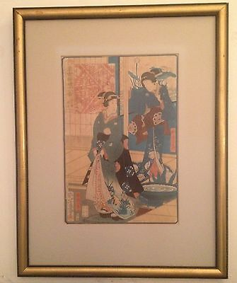 19th c Japanese Woodblock Print of Two Ladies in Kimonos Signed