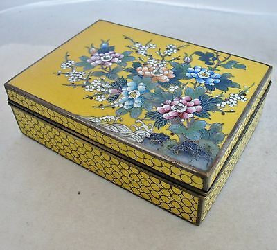 "5.5"" Antique Japanese Yellow Cloisonne Hinged Trinket Cigarette Box with Flowers"