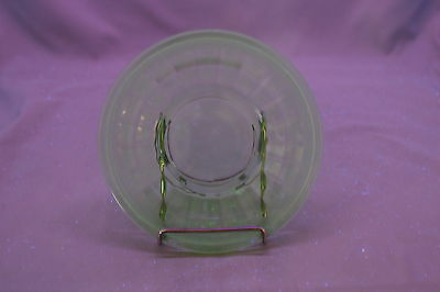 "LE Smith Homestead c1920s Vaseline Green Depression Glass 6"" Saucer Plate"