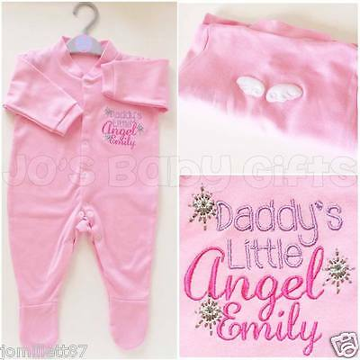 Personalised Girls 'Little Angel' Sleepsuit Baby Grow, Unique Clothing, Any Name