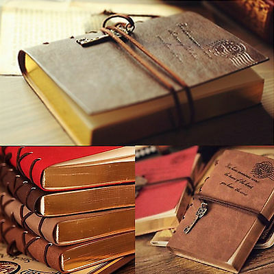 P Amazing Classic Retro Vintage Leather Bound Blank Pages Notebook Journal Diary