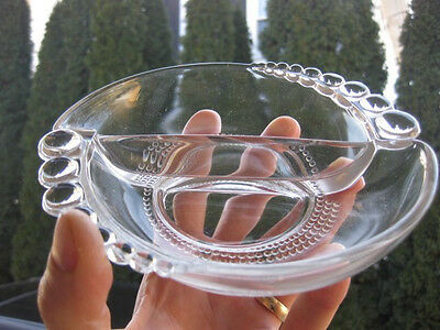 """ANTIQUE CLEAR GLASS divided DISH VEGGIE tray 1000 eyes Duncan Miller 6"""""""
