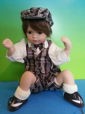 "Adorable Boy Doll 10"" Sitting porcelain Doll Plaid outfit w hat Mint Collectible"