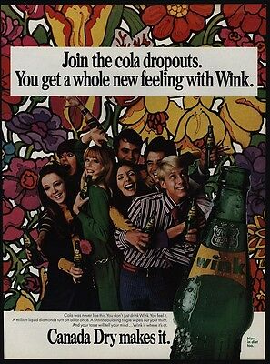 1967 Retro 1960's Art & Clothes - Teenagers -  WINK CANADA DRY VINTAGE AD