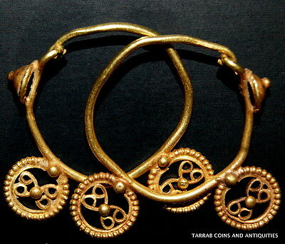Ancient Roman-Byzantine Solid Gold Pair Of Open Work Earrings! Wearable Pair!