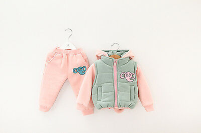 Toddler Girl 3PC Winter Outfit Set Elephant Costume Hooded+Gilet+ Trouser 1-4yrs