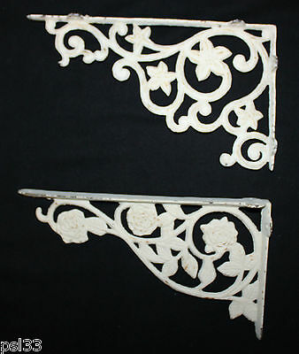 Antique Cast Iron Rose and Star Flower Architectural Ornate Shelf Brackets (5D)
