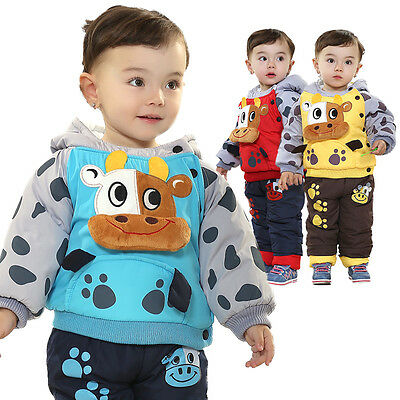 Toddler Boy Cow Costumes Jumper Outfit Set 2pc Hoodies and Pants Size 1-3years.