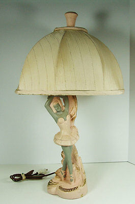 Vintage Ballerina Chalk Lamp with Finial Pink Gray Retro Kitsch Works Great!