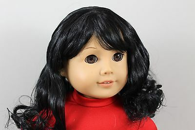 """""""SABRINA"""" WIG SIZE 10-11, OFF BLACK MODELED SNUGGLY ON AN AMERICAN GIRL DOLL"""