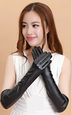 New Ladies Opera Evening Party Black Faux Leather Elbow Long Gloves