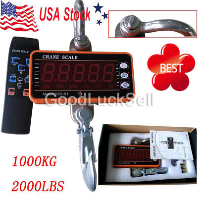 High precision 1000KG 2000LBS-1T Aluminum Digital Crane Scale Duty Hanging US!