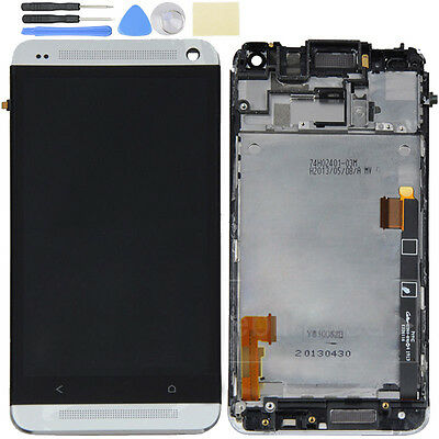 Silver White LCD Display Touch Screen Digitizer Assembly&Frame For HTC One M7