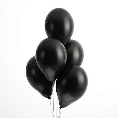 "50 BLACK LATEX BALLOONS 12"" HIGH QUALITY Helium Air Biodegradable Wedding Party"
