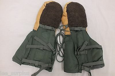 USAF N-4B EXTREME COLD WEATHER ARCTIC MITTENS WITH WOOL LINER MEDIUM EXC