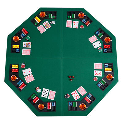 """1.22m/48"""" Folding Poker Table Top 8 Players Table Chip Trays&Drink Holder Casino"""
