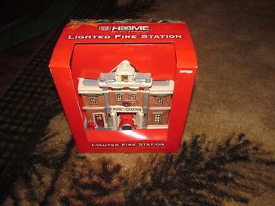 Ceramic Light Up RITE AID Fire Station Christmas Village Lighted New NIB house