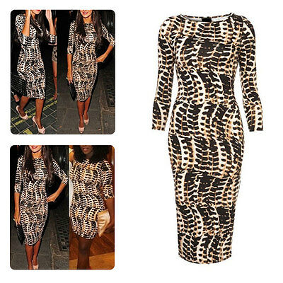 Hot Women Celeb Tribal Animal Leopard Print Long Midi Pencil Bodycon Dress 2015