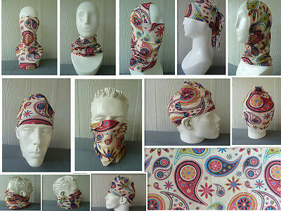 Head/Face/Mask/Neck Multi-wear tube Bandana/Durag. SPF5 Biker wrap. Paisley, 073