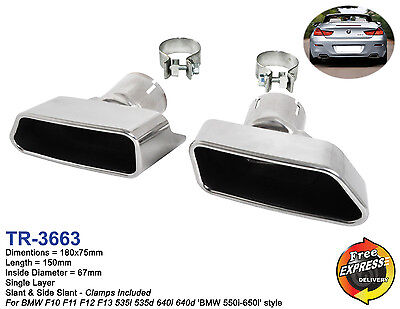 Exhaust tips set s/steel Tailpipe trims to give a BMW 550i / 650i style