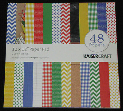 "Kaisercraft '2 COOL 4 SCHOOL' 12"" Paper Pad 48 Sheets (24 Designs x2) KAISER"