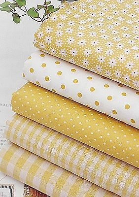 Mix YELLOW 100% Cotton Fabric Polka dot Checked Floral Quilting cuts (JC1/39=