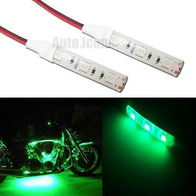 2pcs 3-SMD Green LED Strip Lights Lamp For Motorcycle Under Glow Accent Lighting