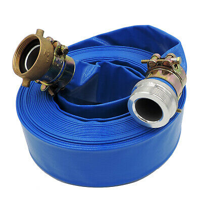 """1.5"""" x 100' Heavy Duty PVC Lay Flat Water Discharge Hose with Pin Lug Connector"""